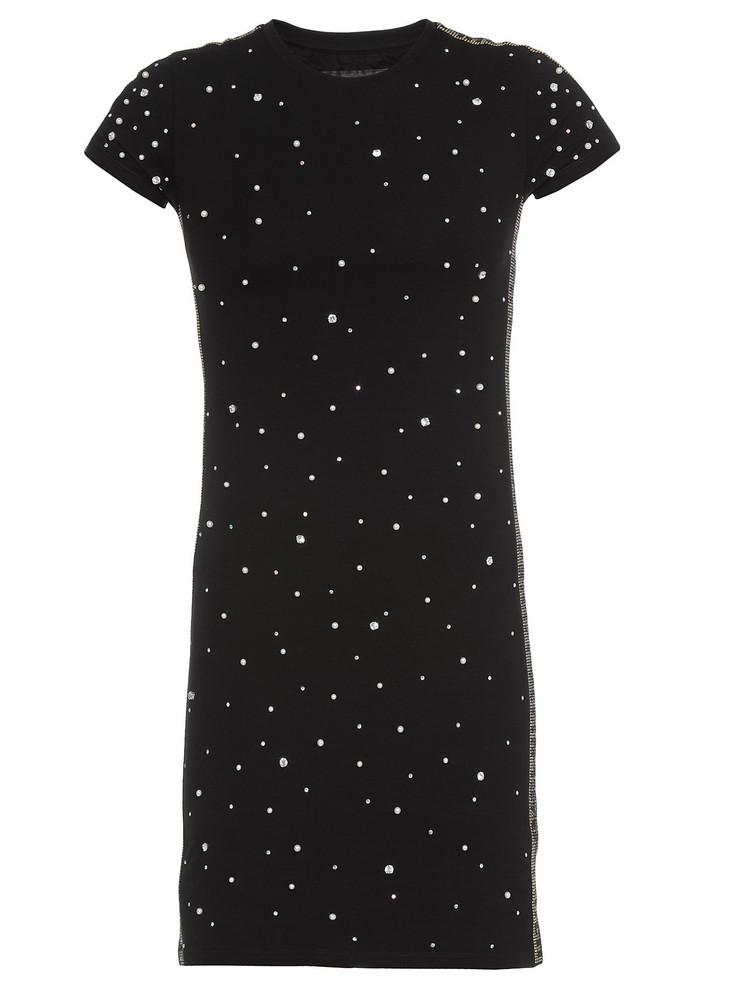 Philipp Plein Cotton Dress With Rhinestones in black