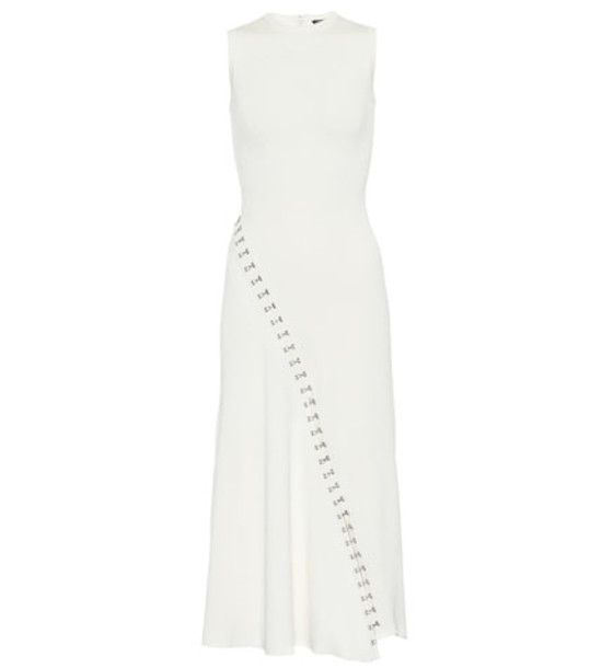 Alexander McQueen Ribbed knit midi dress in white