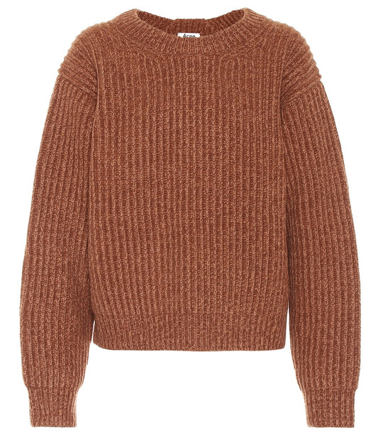 Acne Studios Ribbed-knit wool sweater in brown