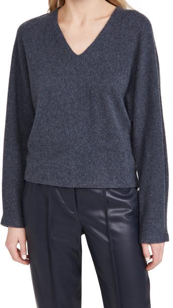 Vince V Neck Dolman Cashmere Sweater in azure