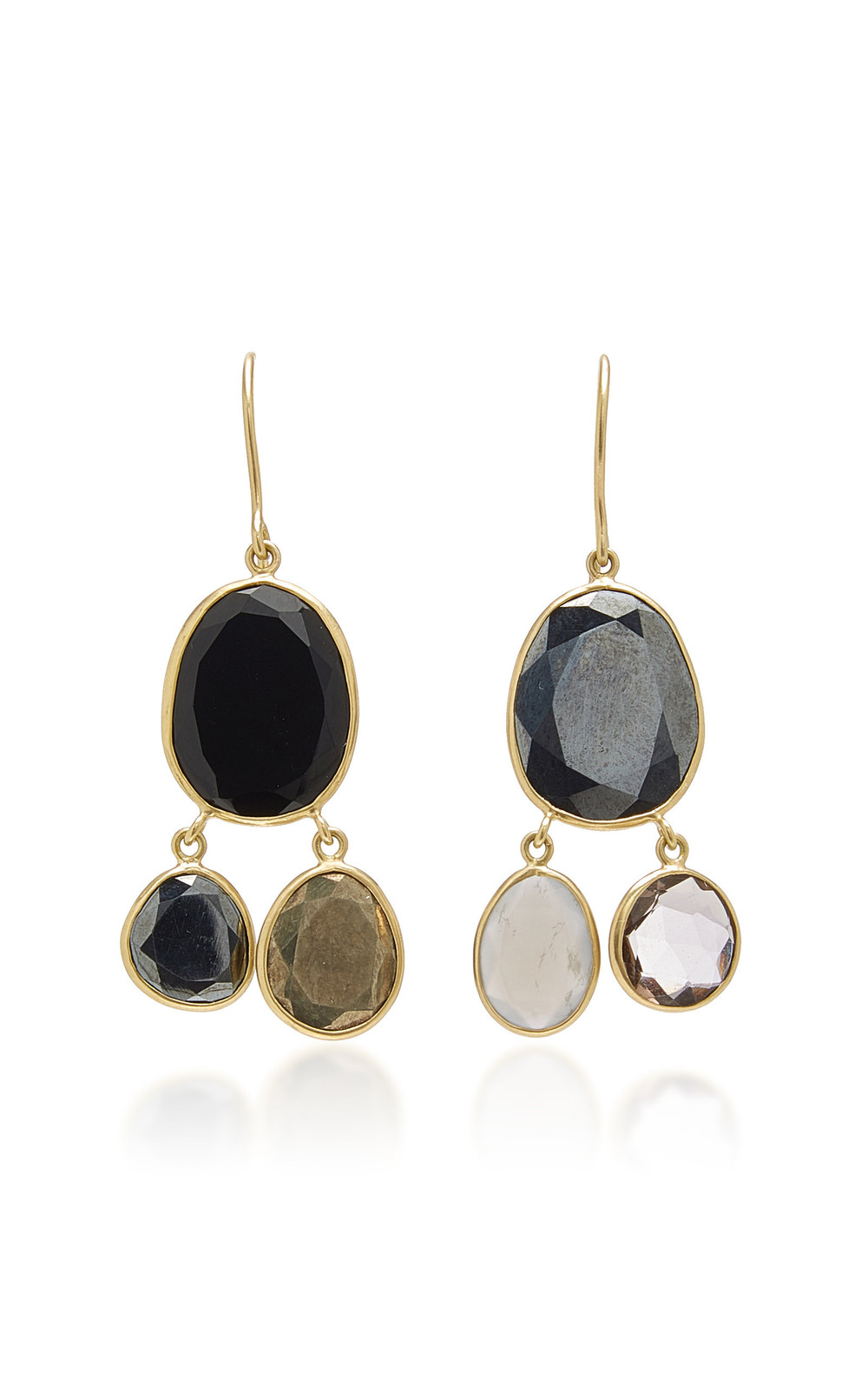 Pippa Small Meteor Shower Three Stone Earrings in grey