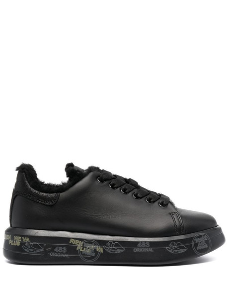 Premiata shearling-lined lace-up trainers in black