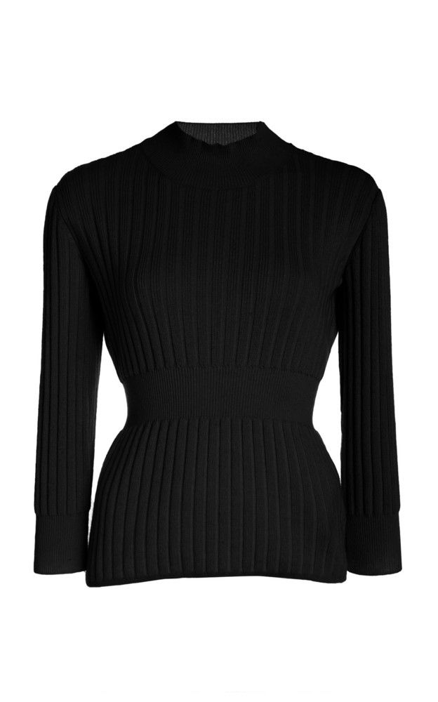 Brock Collection Ribbed Cashmere-Blend Sweater Size: XS in black