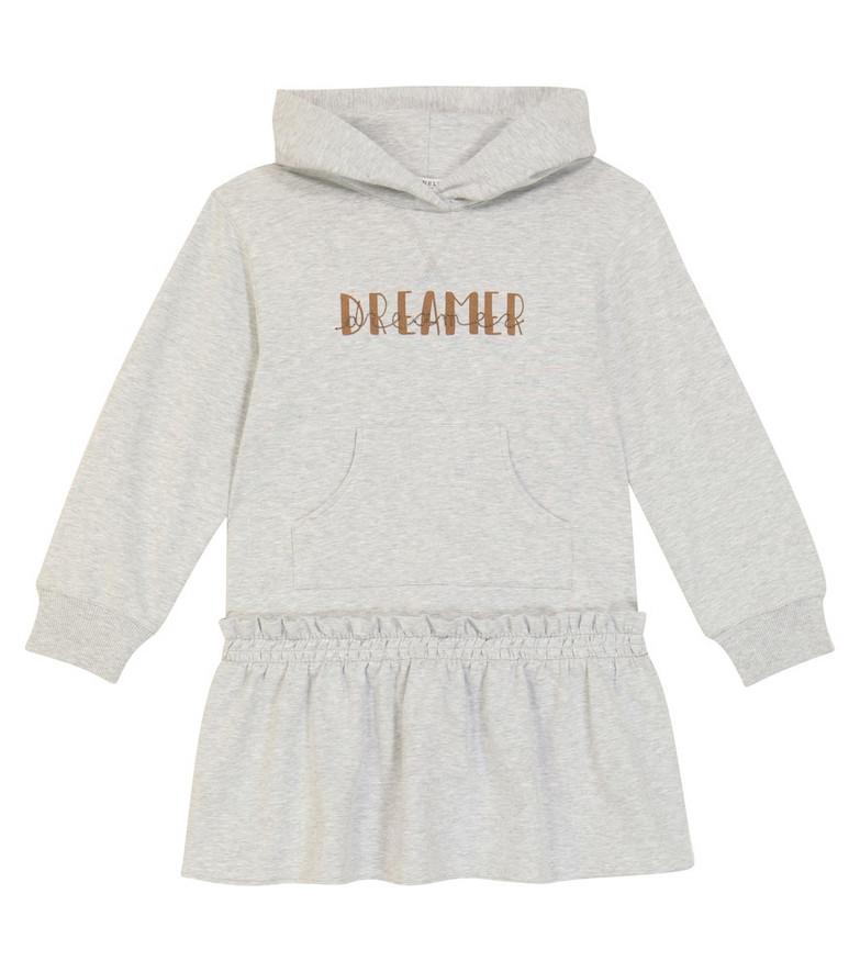 Brunello Cucinelli Kids Dreamer hooded cotton dress in grey