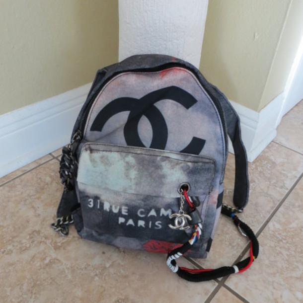 Bag Graffiti Bag Designer Bag Chanel Chanel Backpack Chanel Back Pack Graffiti Chanel Inspired Chanel Purse Runway Fashion Wheretoget