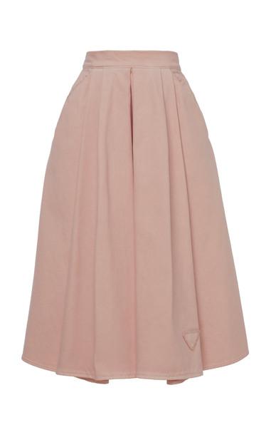 Prada Pleated Cotton Skirt in pink