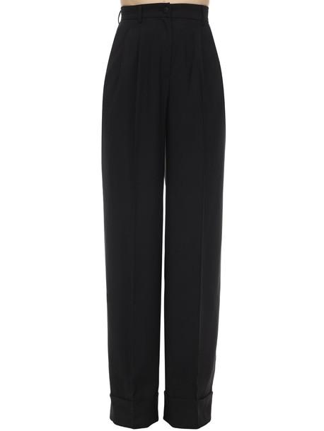 DOLCE & GABBANA Wide Leg Techno Gabardine Pants in black