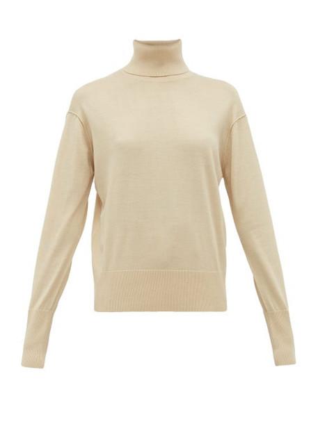 Burberry - Nabuna Logo Cuff Wool Blend Roll Neck Sweater - Womens - Light Cream