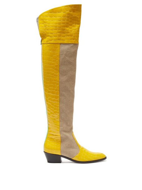 Matty Bovan - Oscar Over The Knee Leather Boots - Womens - Beige Multi