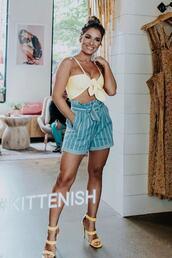 top,jessie james,crop tops,summer outfits,summer top,shorts,sandals,sandal heels,celebrity
