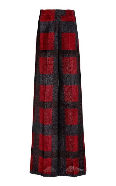 Akris Florette Silk-Jardin Dévoré Wide-Leg Pants in red