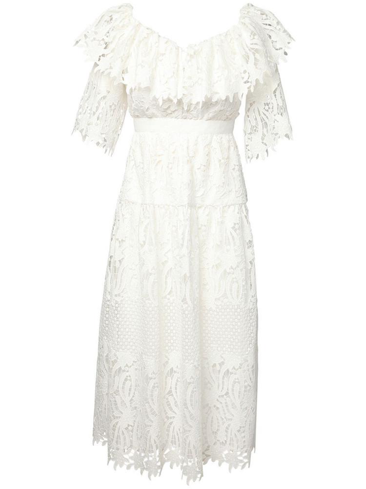 SELF-PORTRAIT Off-the-shoulder Cotton Lace Midi Dress in white