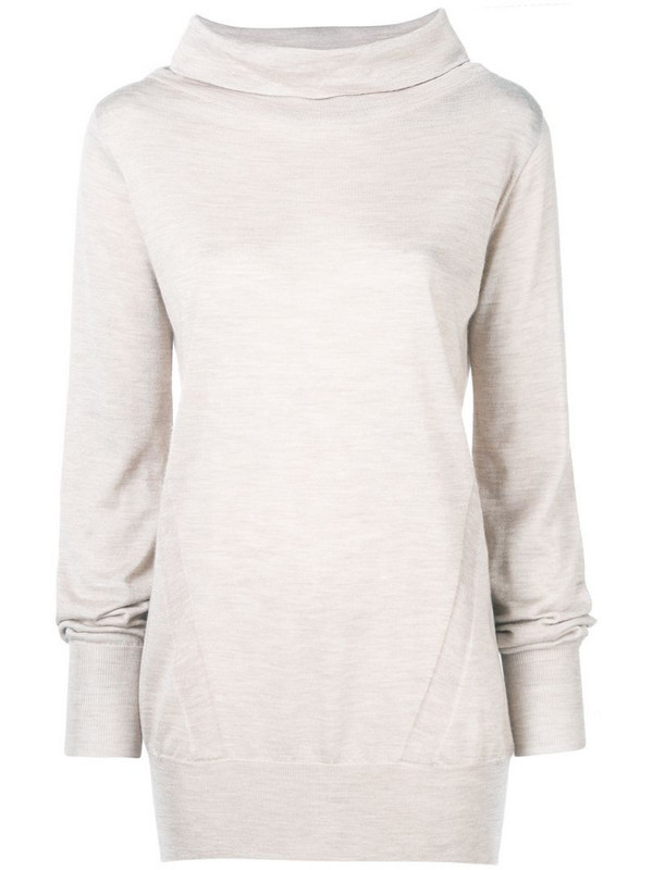 Eleventy funnel neck knitted sweatshirt in neutrals