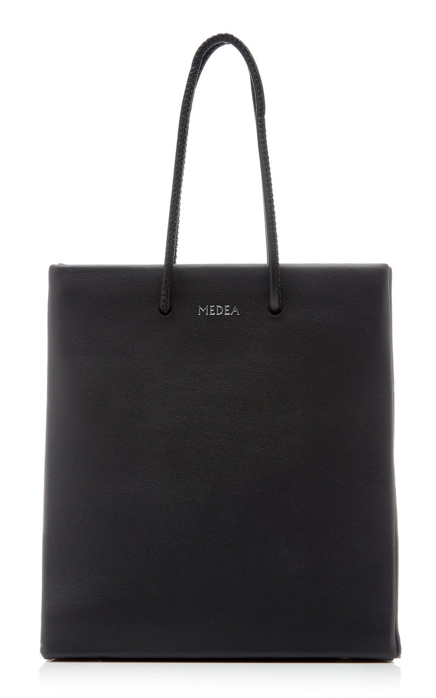 Medea Short Leather Tote Bag in black