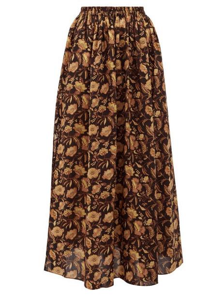 Matteau - High Rise Floral Print Cotton Maxi Skirt - Womens - Yellow Print