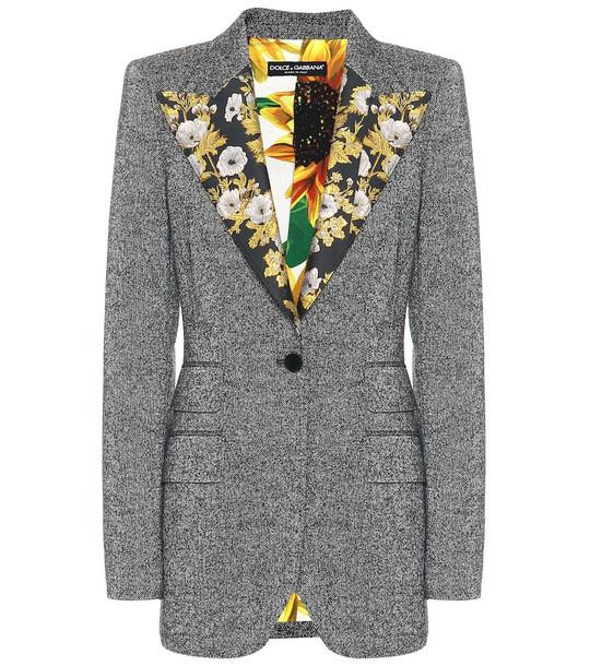 Dolce & Gabbana Wool-blend tweed blazer in grey