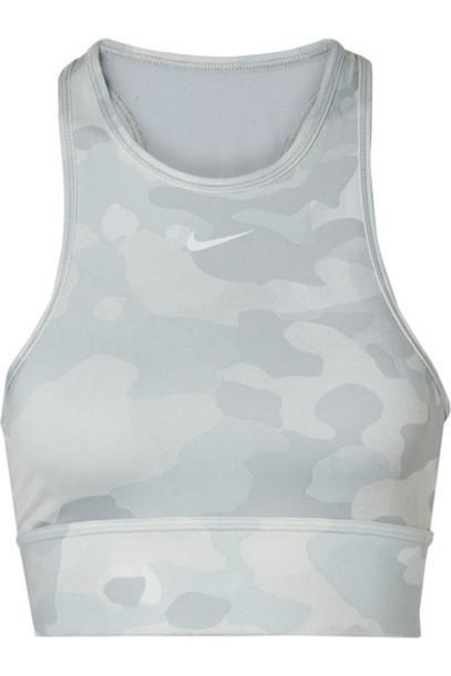 Nike - Everything Mesh-paneled Camouflage-print Dri-fit Sports Bra - Light gray