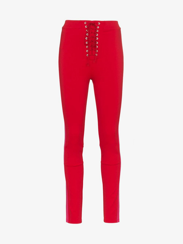 Unravel Project lace up skinny trousers in red