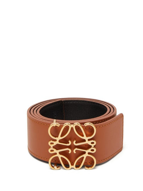 Loewe - Anagram Reversible Leather Belt - Womens - Tan