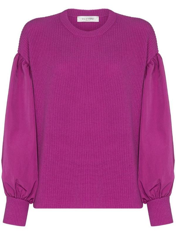 Valentino balloon-sleeve fine-knit jumper in purple
