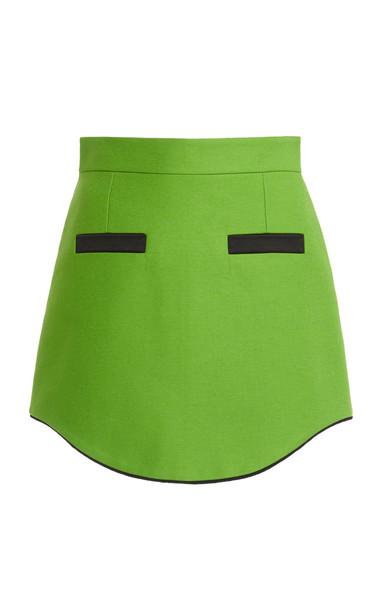 George Keburia Curved Hem Mini Skirt in green