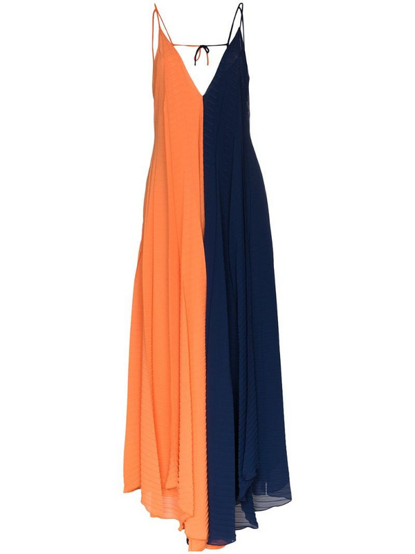 Roland Mouret Tusi two-tone pleated gown in blue