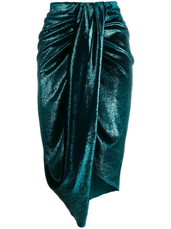 Just Cavalli draped midi skirt in green