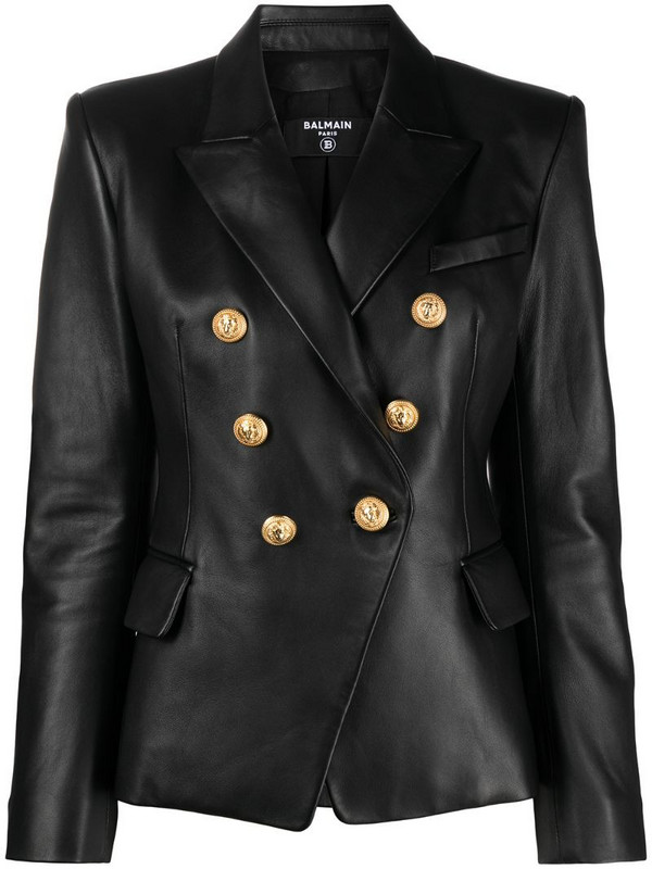 Balmain leather double-breasted blazer in black