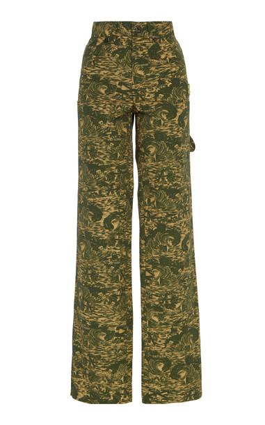Off-White c/o Virgil Abloh Camo-Printed Ripstop Straight-Leg Carpenter Pants in green