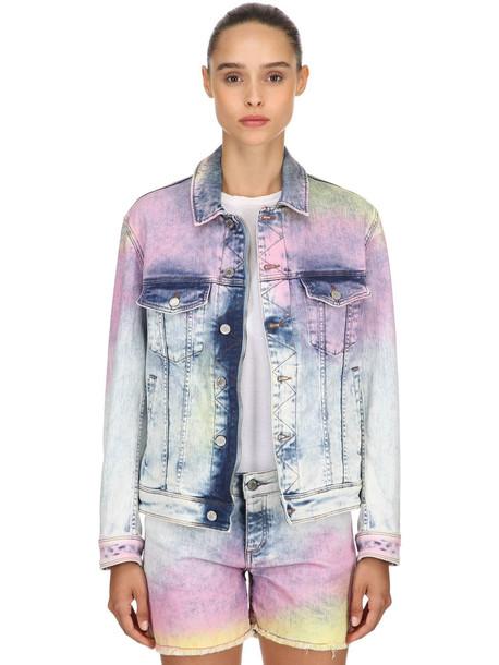 ZADIG & VOLTAIRE Tie Dyed Cotton Denim Jacket in blue / multi