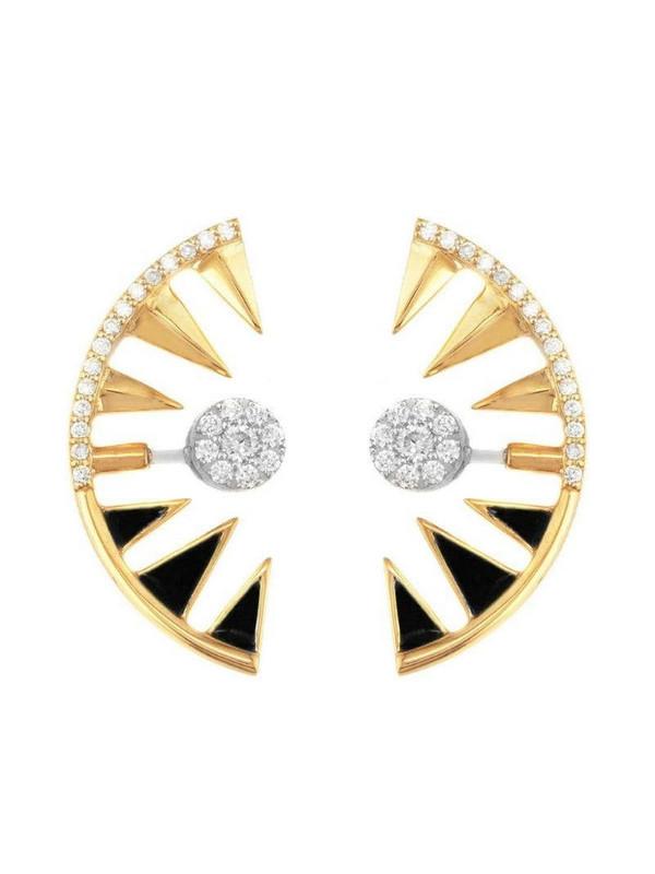 Alessa 18kt yellow gold diamond Clique Orbit earrings