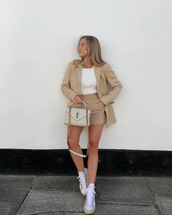 shorts,High waisted shorts,blazer,sneakers,sweater,ysl bag