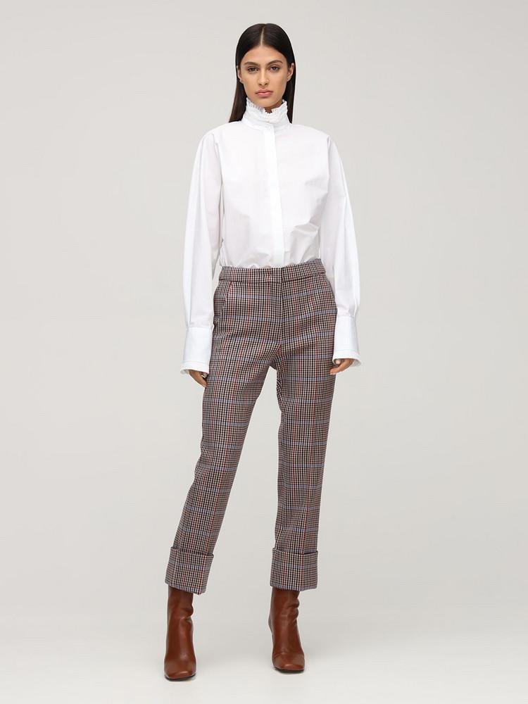 SPORTMAX Cotton Poplin Shirt W/ Ruffled Collar in white
