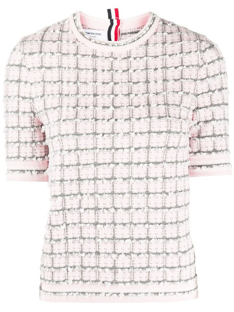 Thom Browne textured check knit top in pink