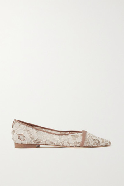 Malone Souliers - Colette Leather-trimmed Corded Lace Point-toe Flats - Cream