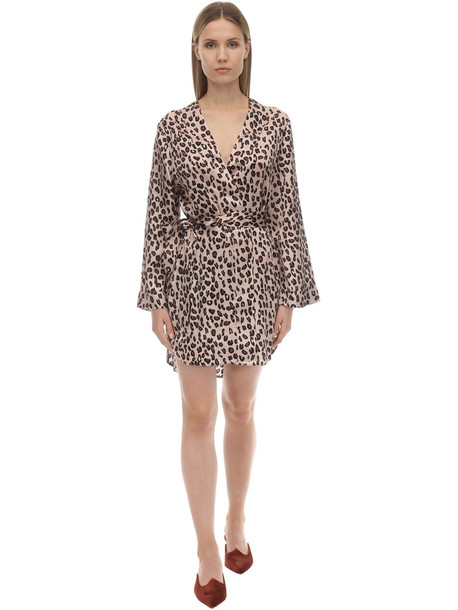 LUNA DI SETA Printed Silk Kimono Wrap Dress in brown / beige