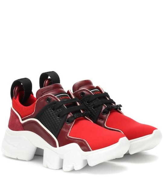 Givenchy Low Jaw leather-trimmed sneakers in red