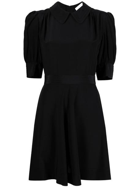 See by Chloé puff-sleeve silk minidress in black