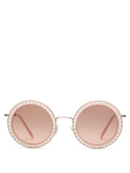 Miu Miu - Délice Studded Round Acetate Sunglasses - Womens - Pink