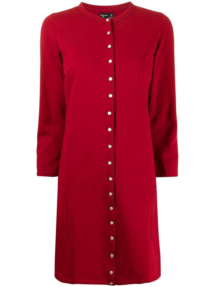 agnès b. agnès b. snap-fastening knitted dress - Red