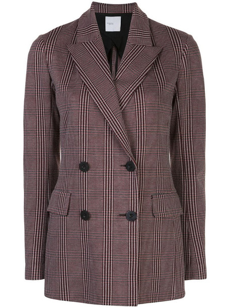 Rosetta Getty houndstooth double-breasted blazer in red