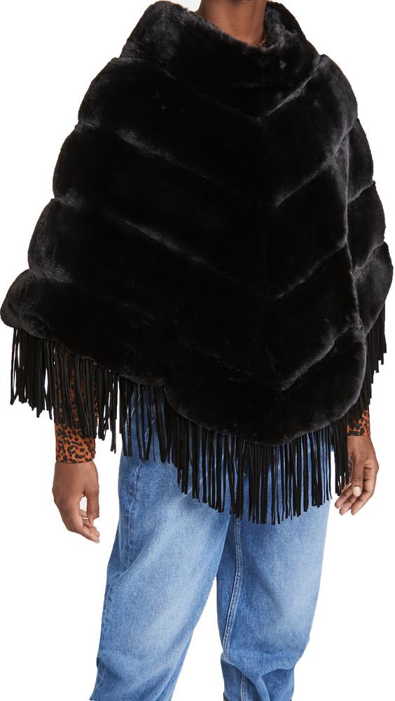 Adrienne Landau Faux Rex Stripe Poncho in black