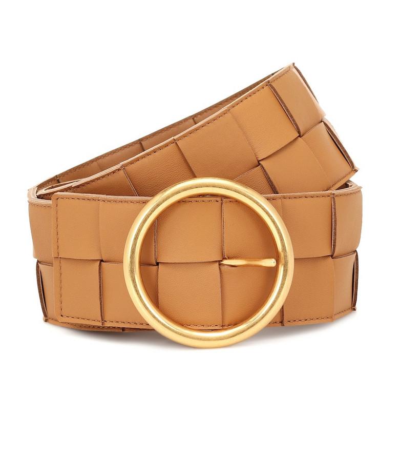 Bottega Veneta Intrecciato leather belt in brown