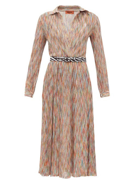 Missoni - Surplice-neck Space-knit Cotton-blend Midi Dress - Womens - Orange Multi