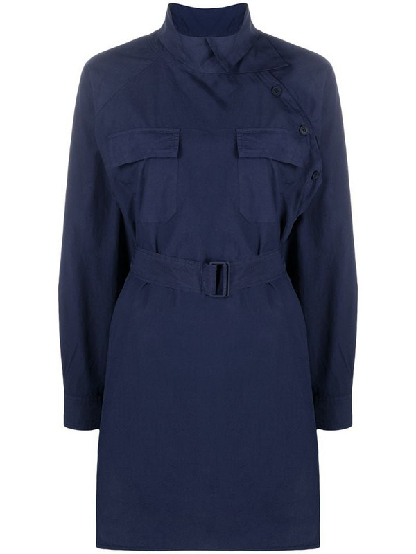 Kenzo belted waist shirtdress in blue