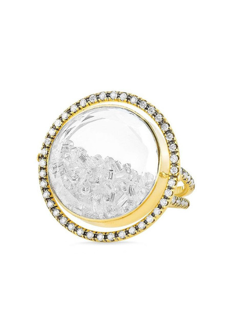 Moritz Glik 18kt yellow gold movable halo diamond shaker ring