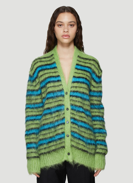 Marni Brushed Knit Striped Cardigan in Green size IT - 40