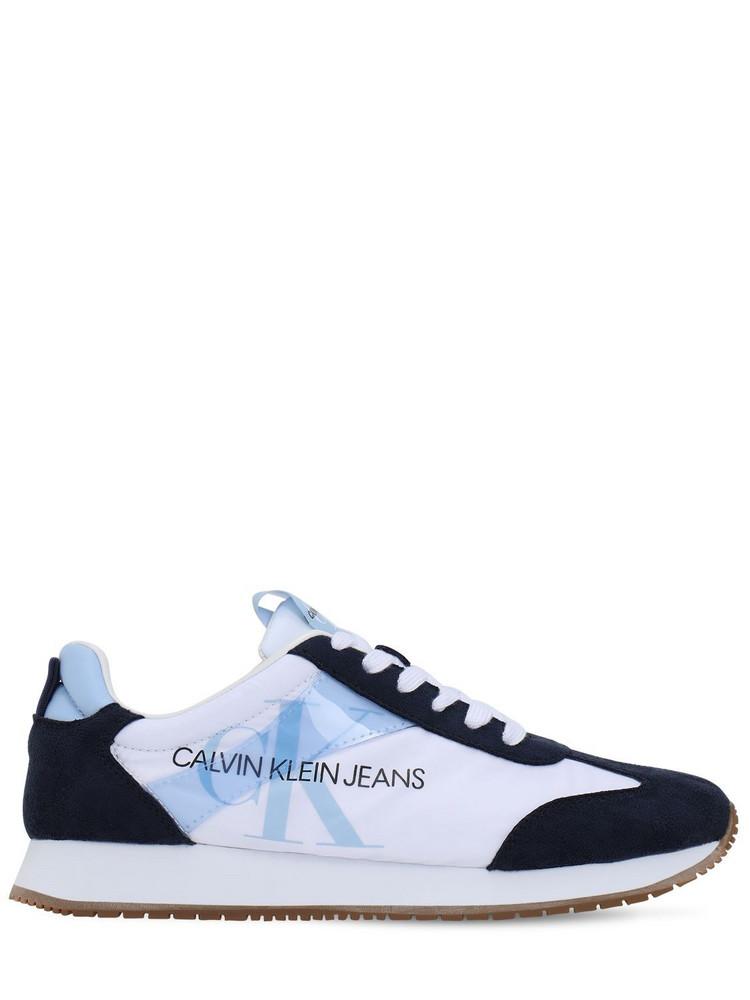 CALVIN KLEIN JEANS 20mm Josepha Nylon & Faux Suede Sneakers in navy / white