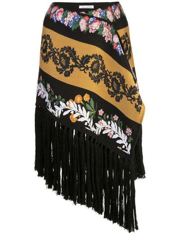Oscar de la Renta fringed asymmetric skirt in black