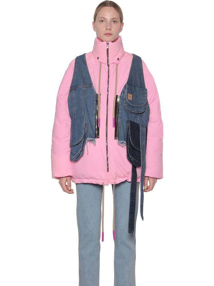 NATASHA ZINKO Nylon Puffer Coat W/denim Vest in pink